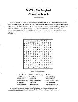 To Kill a Mockingbird,Character Search puzzle,Harper Lee