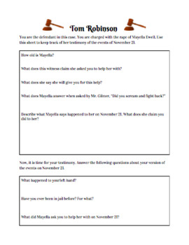 To Kill a Mockingbird Character-Specific Trial Worksheets