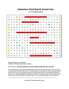 To Kill a Mockingbird Characters Word Search (Grades 7-12) with Key