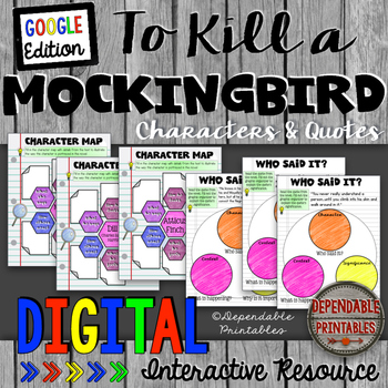 To Kill a Mockingbird: Characters and Quotes Digital Google Edition