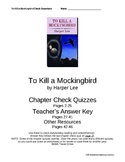 """To Kill a Mockingbird"" Check Questions w/Key, Chapters 1-31 - Word"