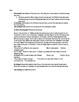To Kill a Mockingbird -Childhood Memory Activity