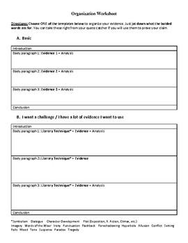 To Kill a Mockingbird Claim and Organization Essay Worksheet