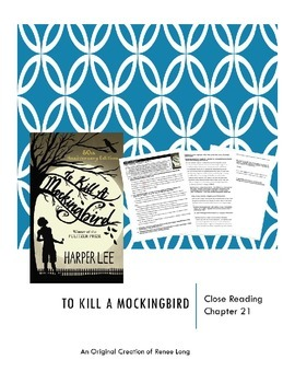 To Kill a Mockingbird Close Reading Activity for Chapter 21 (the verdict)