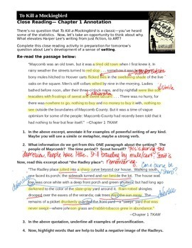 notes on to kill a mockingbird chapter 1