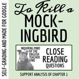 To Kill a Mockingbird Close Reading Worksheet - Chapter 1 (ACT Prep)