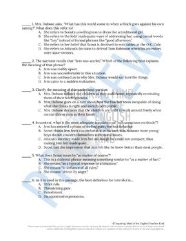 To Kill a Mockingbird Close Reading Worksheet - Chapter 11 (ACT Prep)