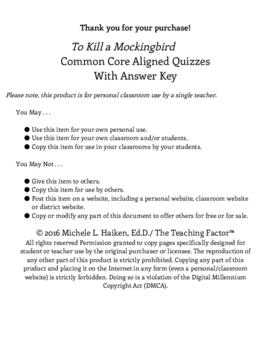 To Kill a Mockingbird Common Core Aligned Quizzes