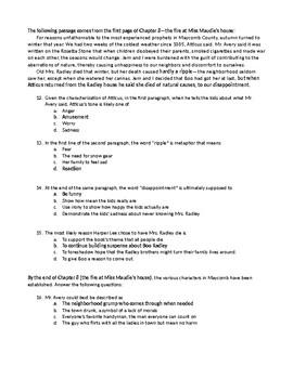 To Kill a Mockingbird Common Core Test