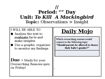 To Kill a Mockingbird: Lesson Plan/Powerpoints/Documents/CCLS