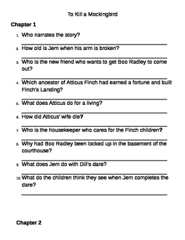 To Kill a Mockingbird Comprehension Questions