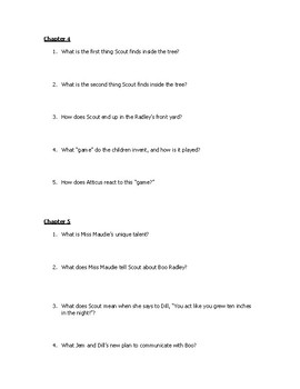 To Kill a Mockingbird: Comprehension Questions