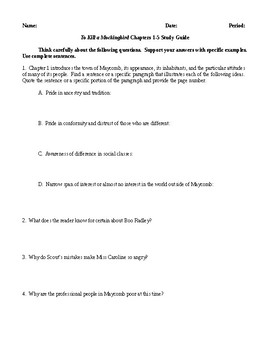 To Kill a Mockingbird - Comprehensive Study Guide Packet - CCSS Aligned