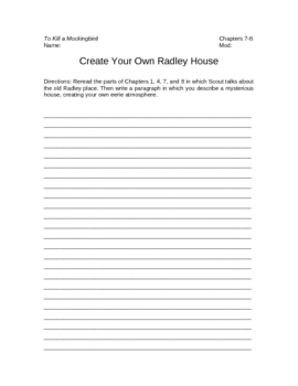 To Kill a Mockingbird Create Your Own Radley House Writing Assignment