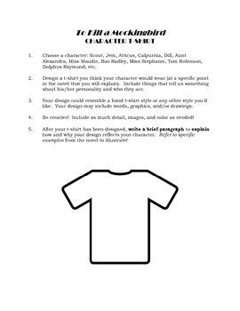 To Kill a Mockingbird Creative Character Activity TKAM Novel Study Assignment