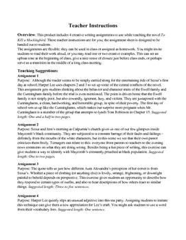 To Kill a Mockingbird: Creative Writing Prompts