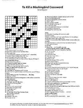 To Kill a Mockingbird, Crossword Puzzle, Harper Lee