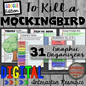 To Kill a Mockingbird: Digital Graphic Organizers & Writing Prompts Google