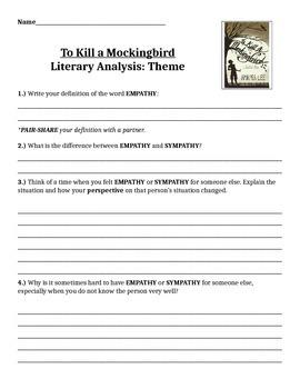 To Kill a Mockingbird Empathy Writing Activity