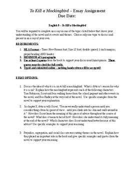 High School Narrative Essay To Kill A Mockingbird Essay Assignment Essays On Different Topics In English also Research Essay Topics For High School Students To Kill A Mockingbird Essay Assignment By Kathleen Prohaska  Tpt Essays On Business Ethics