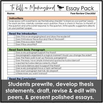 To Kill a Mockingbird Essay Unit for Literary Analysis Writing