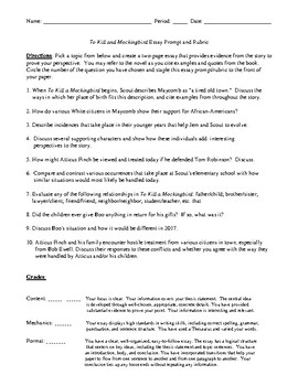 Research Proposal Essay To Kill A Mockingbird Essay Prompt With Detailed Rubric Teaching Essay Writing To High School Students also Essay For Science To Kill A Mockingbird Essay Prompt With Detailed Rubric By Debbies Den Research Paper Vs Essay
