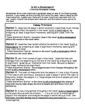 To Kill A Mockingbird Essay Prompts W Rubric By English With Ms B To Kill A Mockingbird Essay Prompts W Rubric Global Warming Essay Thesis also English Essay Question Examples  Book Writing Service