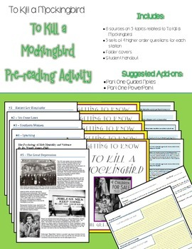 To Kill a Mockingbird Extension Activity: Pre-reading Stations
