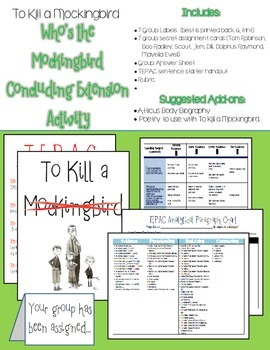 To Kill a Mockingbird Extension Activity: Who's the Mockingbird
