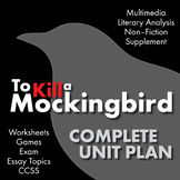 To Kill a Mockingbird Unit Plan, Harper Lee Novel Unit Study, TKaM, CCSS