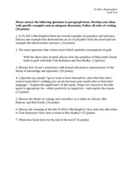 To Kill a Mockingbird FInal Test (All Essays) (No Key)