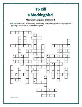 To Kill A Mockingbird Figurative Language Crossword Fun Intro To
