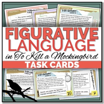 {To Kill a Mockingbird} Figurative Language TASK CARDS