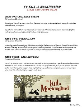 To Kill a Mockingbird- Final Test Study Guide