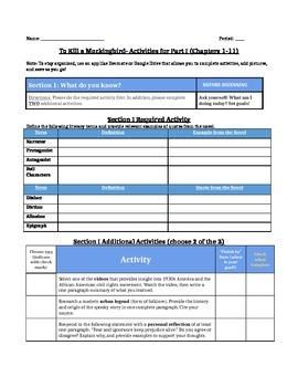 To Kill a Mockingbird- Flipped Classroom Activities by Chapter
