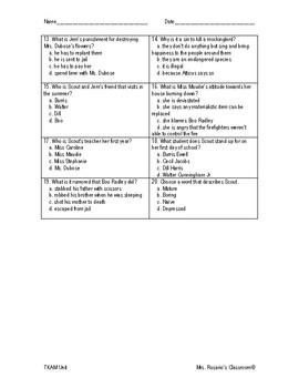 To Kill a Mockingbird Formal Assessments