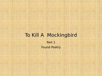 To Kill a Mockingbird Found Poetry Project