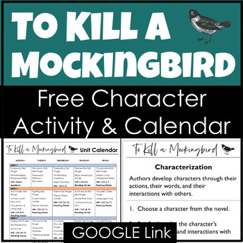 To Kill a Mockingbird Free Unit Calendar and Character Activity