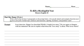 To Kill a Mockingbird - Full Study Guide and Test