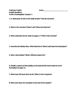 To Kill a Mockingbird - Guided Questions Ch. 1