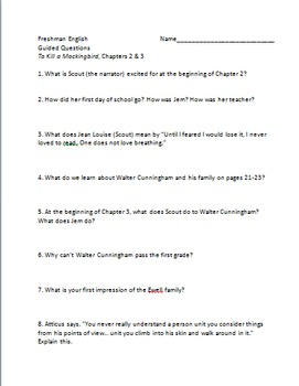 To Kill a Mockingbird - Guided Questions Ch. 2 and 3