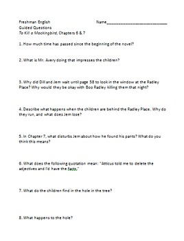 To Kill a Mockingbird - Guided Questions Ch. 6 and 7