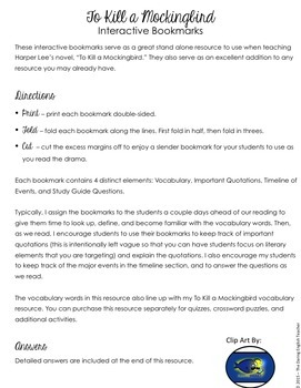 To Kill a Mockingbird Interactive Bookmarks: Questions, Analysis, Vocabulary