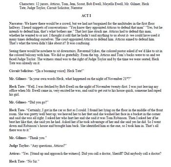 To Kill a Mockingbird Interactive Style Worksheets & SCRIPT for Courtroom Scene