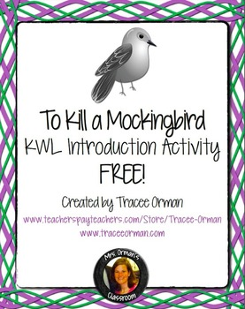 """Free """"To Kill a Mockingbird"""" Introduction Guided KWL Activity"""