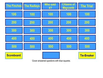 To Kill a Mockingbird Jeopardy Review Game for Smart Notebook