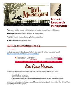 To Kill a Mockingbird Jim Crow Research Paragraph