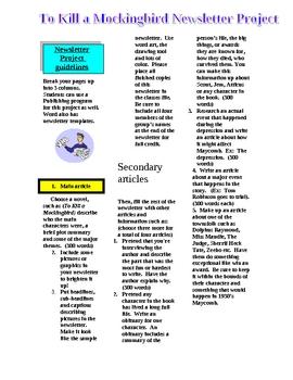 To Kill a Mockingbird Newsletter Project Handout