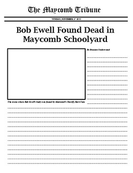 To Kill a Mockingbird: Newspaper Article (Bob Ewell's Death)