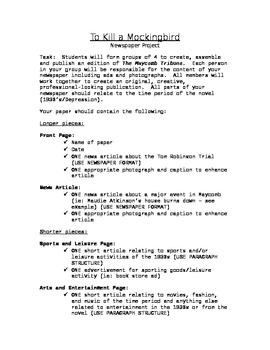 To Kill a Mockingbird: Newspaper Project